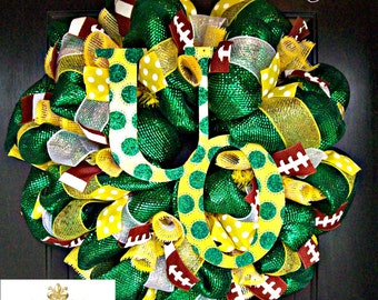 Deco Mesh University Oregon Football Fan Wreath