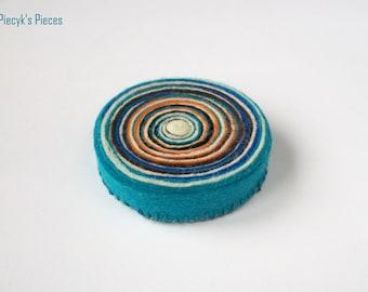 Swirly Felt Brooch - Turquoise Blue White Orange Felt Brooch OOAK