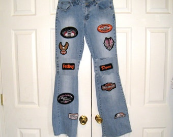 Ladies Vintage Angels Low Rise Stretch Flared Jeans, 15 Harley Davidson Patches / 30 X 34 / Distressed, Destroyed / US Shipping Included