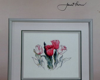 Janet Powers Green Apple Co. TULIPS FLOWERS Based On Original Watercolor Painting - Counted Cross Stitch Pattern Chart