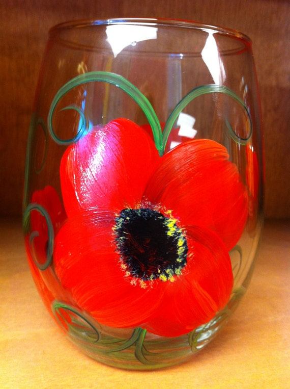 Hand Painted Stemless  Wine Glass - Poppies
