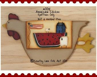 EPATTERN, #0018 Americana chicken, chicken pattern, painting epattern, paint your own, digital download,chicken art, chicken painting,