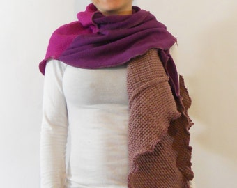 ON SALE WAS 48 Shawl Scarf Recycled Sweater Wrap Fuchsia Purple Lilac one of a kind ecofriendly elegant wrap around textured Rose Temple