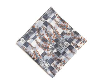 Gray tiles orange floral pocket square