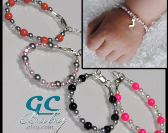 Custom Swarovski Crystal Pearl Bracelet - 33 Colors & 9 Sterling Silver Charms Choices - for Newborn, Baby, Girl, Teen, Adult