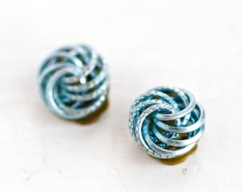 Blue Knots Clip On Earrings