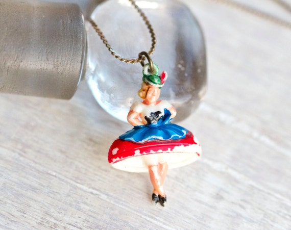 Tiny Bavarian Dancer Necklace - Miniature celluloid figure Pendant on Chain