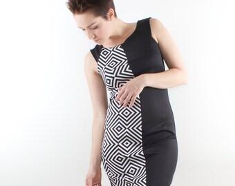 Black mini dress, Black and white mini dress, Sleeveless mini dress, Black party dress, Pencil dress, Black retro dress, Vegan dress