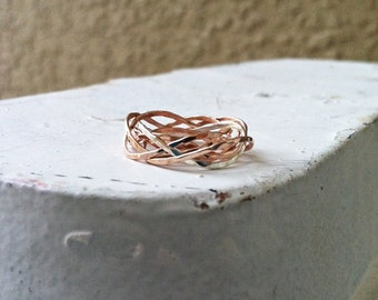 Set of 6 wavy stack rings, hammered, 14k gold filled, 14k rose gold filled, sterling silver