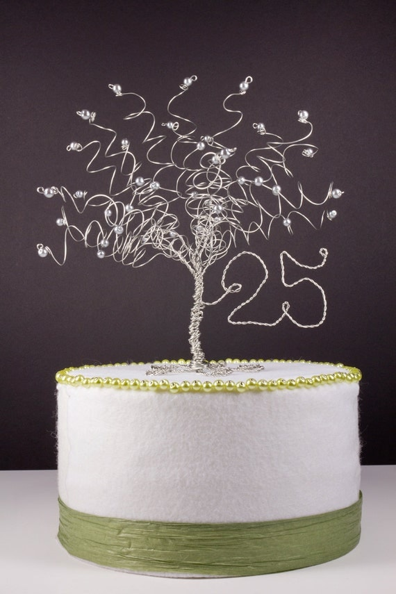 25th Anniversary Cake Topper Silver Tree Sculpture