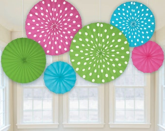 Hanging Paper Fans Rosettes Hanging Pinwheels Set of 6 Fans Party Decoration Birthday Party Table Backdrop Baby Shower Wedding Decor