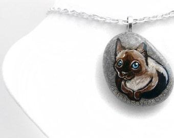 Siamese Cat Necklace, Pet Memorial Gift, Pet Portrait Pendant, Pet Loss Jewelry, Hand Painted Rock, Beach Stone, Pet Owner Gift