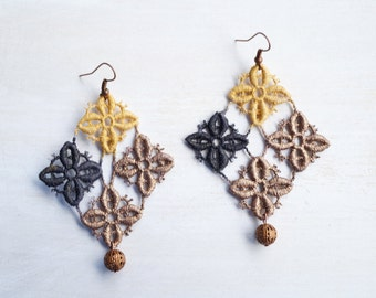 Gold Brown and Black Lace Geometric Earrings