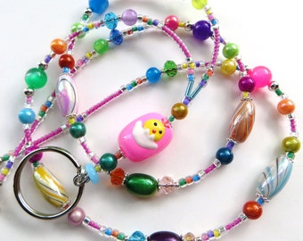 EASTER CHICK- Beaded ID Lanyard Badge Holder- Lampwork Beads, Resin, Crystals, and Acrylic Beads (Magnetic Clasp)