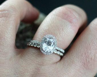 FB Moissanite Diamonds Eternity Bubble Bezel Band Engagement Ring Set Ovale Ferarelle 1.5ct 8x6mm White-Yellow-Rose Gold-10k-14k-18k-Platinu