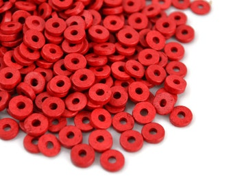 100 Mykonos Washer - 6mm Red - Greek Ceramic Round Washer