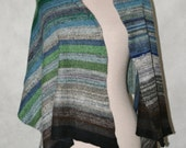 ON SALE; cashmere little scarf,  handmade from 2ply yarn, in dark blues and greens, ooak