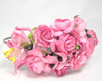 Deep pink roses Floral Headband Flower Fascinator Vintage Wedding Party Bridal Accessory Bridesmaid statement