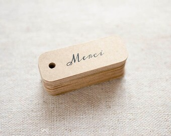 Merci Miniature Kraft Gift Tags - Rustic Wedding Favor Tag - Thank You Gift Tags - Bridal Shower - Product Tag - Set of 40 (Item code: J292)