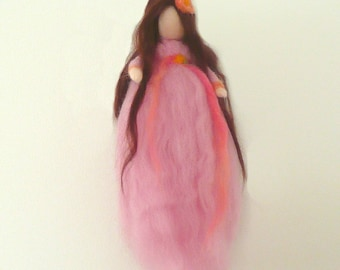Spring Maiden Fairy Pink - Waldorf Style Faerie - Seasonal Nature Table - Needle Felted Wool Fairy