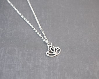Lotus Flower Necklace, Lotus Flower Jewelry, Yoga Jewelry, Lotus Jewelry, Flower Pendant, Meditation Jewelry, Sterling Silver. Nature