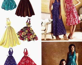PATTERN Simplicity 3823 Halter neck dress fitted waist with skirt variations Size  6-14 Uncut