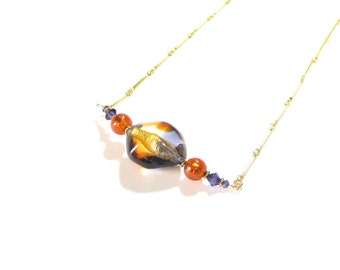 Murano Glass Topaz Plum Beaded Chain Necklace, Gold Filled Chain, Murano Glass Necklace, Venetian Jewelry