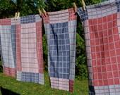 Handwoven Cotton LinenTea Towel- Farmhouse Blocks Red, White and Blue