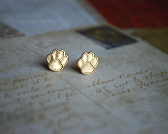 Paw Print Studs -- Gold Paw Print Earrings, Brass Earrings