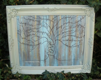 1 Cor. 13 Love Tree Framed Painting, love painting, tree painting, scripture painting, wedding/anniversary gift