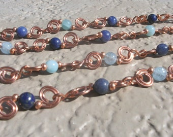 Susie-Q Blues - Long copper wirework necklace with blue stones; long beaded chain