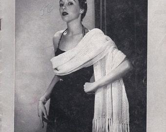 Vintage 1940s - Paton's Knitting, Crochet Pattern Shawls, Wraps or Scarves No 379  For Women/Ladies - Original Pattern