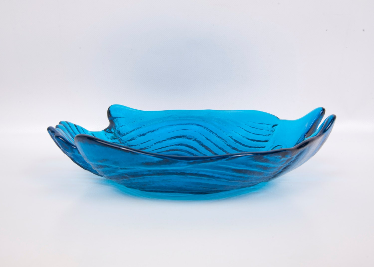 Outstanding Vintage Blue Glass Bowl Fish Shape Art Glass Large Serving Interior Design Ideas Philsoteloinfo