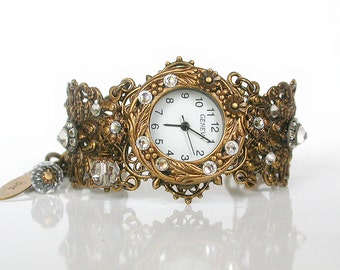 Victorian Unique Women Watches Brass Wrist Watch Vintage Inspired Ladies Watches  Swarovski Watch for Woman Victorian Gothic Jewelry