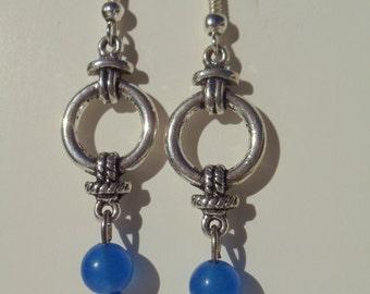 Dyed Blue Jade Earrings