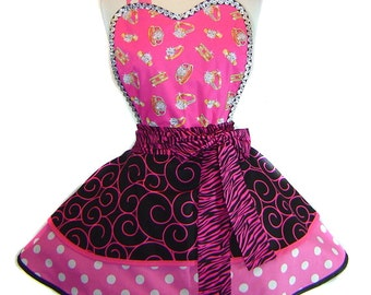 Ring-A-Ding-Bling Feyonce/Fiance Sparkle Plenty Pinup Polka Dots Diner Apron