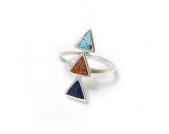 Triangle Inlay Ring - Pyramid Ring - Southwestern Inlay Ring - Turquoise, Red Sponge Coral and Lapis Ring - Custom Inlay Stones available