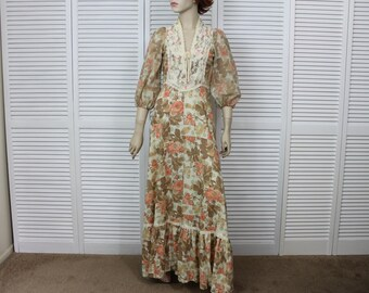 Vintage 1970s Prarie Dress Long Maxi Dress X Small