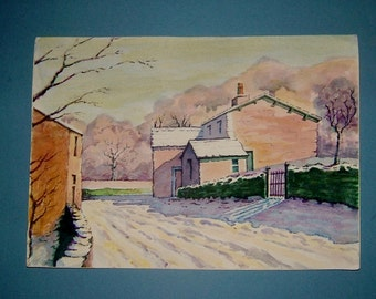 Winter Painting Featuring a Snow Covered House and Lane Christmas Watercolor Original Art Wall Hanging Home Decor