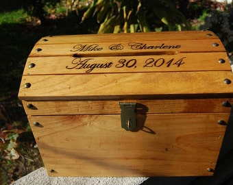 Personalized Wooden Wedding Treasure Chest Card Box Large with Card Slot Carved Burnt Custom Name
