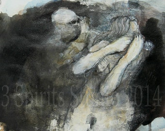 "Original contemporary Mixed Media Artwork- Painting on paper-""Hidden Calling"""