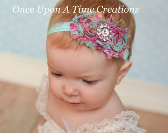 Pink and Blue Floral Print Shabby Flower Rose Headband - Photo Prop Hairbow - Newborn Baby - Little Girls Hair Bow - Ready To Ship RTS