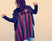 Bohemian Top Mexican Tube Shirt Folk Textile Black Striped Boho Hippie Layering Organic Fair Trade Women's Eco Friendly Clothing OOAK