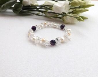 Pearl Bracelet - Freshwater Cultured Pearl, Amethyst, Clear Crystal Strech Bracelet