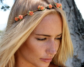 Flower crown, flower headband, orange flower crown, coachella, festival flower crown, wedding, day of the dead, flower halo