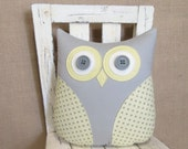 yellow owl pillow, yellow and grey pillow, yellow accent pillow, grey yellow nursery decor, owl, animal pillow by whimsysweetwhimsy