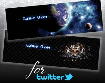 GAME OVER - 2 Twitter Web Banners Design Digital Collage ChikUna Art - Personal & Business Use Blog Banner