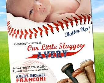 Baseball Birth Announcement - PERSONALIZED with PHOTO - MLB Inspired - custom design