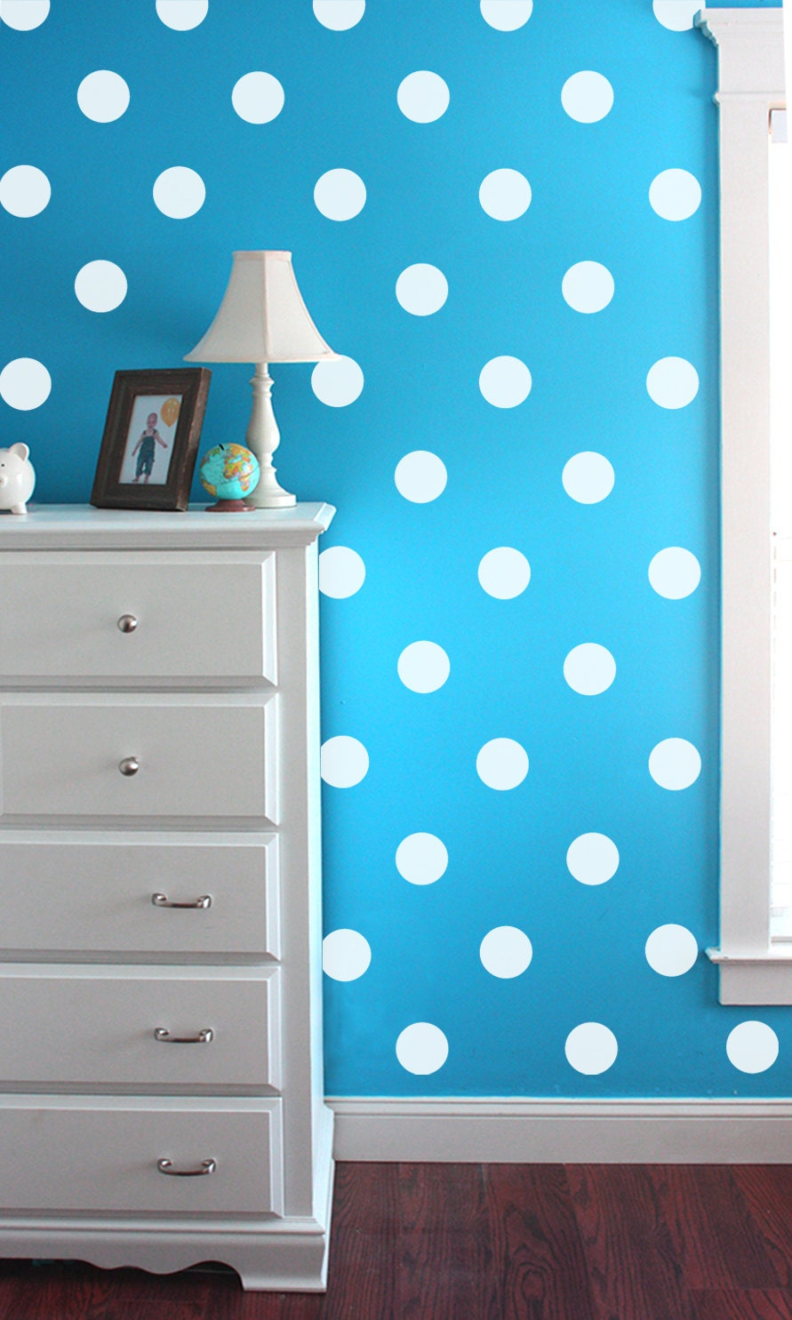 vinyl wall sticker decal art polka dots white polka dot. Black Bedroom Furniture Sets. Home Design Ideas