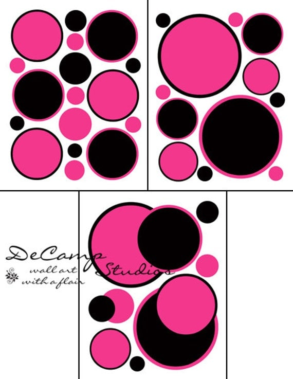 hot pink polka dots wall decals teen girl room baby nursery